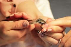 Manicurist at training courses shows students how to handle nails with the help of nippers cuticles before applying Stock Photography