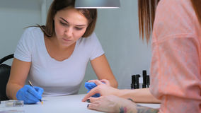 Manicurist treating client at beauty salon - painting on the nail Royalty Free Stock Photography