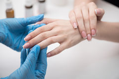 Manicurist is wiping oil in cuticle of young woman Royalty Free Stock Images