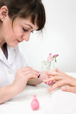 Manicurist at work Royalty Free Stock Images