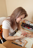 Manicurist working with   nails Royalty Free Stock Photography