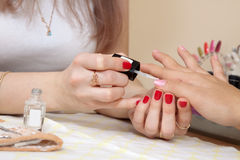Manicurist working with   nails Stock Photography