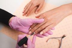 Manicuro profesional que muestra esmalte de uñas colorido para comprobar el resultado del final Técnico del clavo que presenta la fotos de archivo