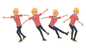 Manidrottsman nen Figure Skating Iskonståkarevektor Idrottsman nenvintersport I handling Synchron dansare Olikt poserar Arkivbilder