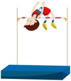 Manidrottsman nen som gör höjdhopp stock illustrationer