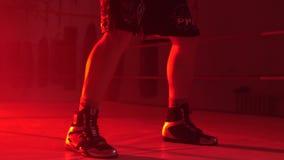 Manidrottsman nenanseende och göra skuggaboxningövningar i idrottshall Boxare som gör en skuggakamp stock video