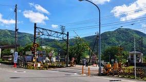Manier aan de Gora-post, waar het midden van Hakone en geschikt is rond te gaan stock foto's