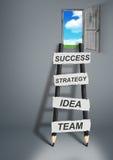 Manier aan succes creatief concept, potloodladder met exemplaarruimte Stock Fotografie