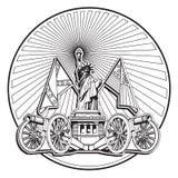 Manier aan zwart-wit Vrijheidskenteken royalty-vrije illustratie