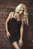 Manier blonde vrouw over bakstenen muur Stock Foto's