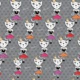 Manier Cat Vector Pattern Royalty-vrije Stock Afbeelding