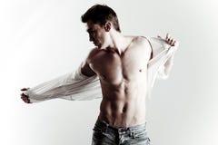 Manier die van jong mannelijk model is ontsproten Stock Afbeeldingen
