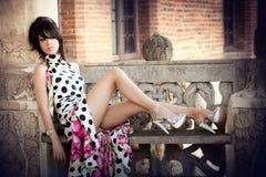 Manier die van sexy elegante vrouw is ontsproten Stock Foto's