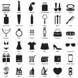 Manier en vrouwentoebehoren, pictogrammen Stock Foto's