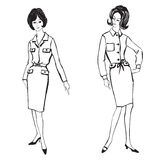Manier geklede meisjes (de stijl van jaren '50jaren '60) Stock Foto's