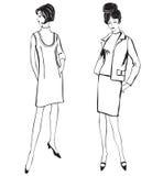 Manier geklede vrouwen (de stijl van jaren '50jaren '60) Stock Fotografie
