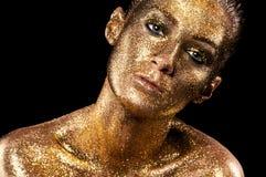 Manier klassieke gouden lippen Royalty-vrije Stock Afbeelding