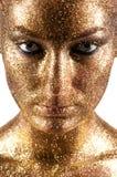 Manier klassieke gouden lippen Royalty-vrije Stock Afbeeldingen