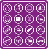 Manier, kleren en bijkomende pictogrammen Stock Afbeelding