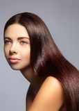 Manier lang haar Mooi donkerbruin meisje, Gezonde rechte glanzende haarstijl Het model van de schoonheidsvrouw Vlot kapsel Royalty-vrije Stock Fotografie