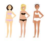 Manier leuke meisjes in bikini royalty-vrije illustratie