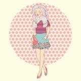 Manier mooi lopend meisje in vector stock illustratie