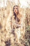 Manier mooie dame in de herfstlandschap stock foto's