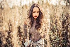 Manier mooie dame in de herfstlandschap stock afbeelding