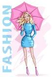 Manier mooie vrouw met paraplu Modieus meisje met blondehaar schets Het meisje van de manier vector illustratie