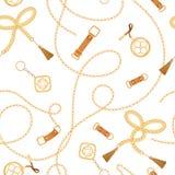 Manier Naadloos Patroon met Gouden Kettingen en Riemen Ketting, Vlecht en juwelenelementenachtergrond voor Stoffenontwerp royalty-vrije illustratie