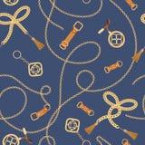 Manier Naadloos Patroon met Gouden Kettingen en Riemen Ketting, Vlecht en juwelenelementenachtergrond voor Stoffenontwerp stock illustratie