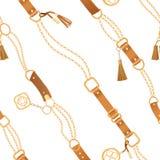 Manier Naadloos Patroon met Gouden Kettingen en Riemen Ketting, Vlecht en juwelenelementenachtergrond voor Stoffenontwerp vector illustratie