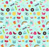 Manier naadloos patroon van de grappige stijl van de flardenjaren '80 Spelden, kentekens en stickers het pop-art van het Inzameli vector illustratie