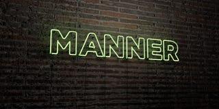 MANIER - Realistisch Neonteken op Bakstenen muurachtergrond - 3D teruggegeven royalty vrij voorraadbeeld Royalty-vrije Stock Fotografie