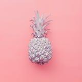 Manier valse ananas op roze achtergrond Minimale stijl Royalty-vrije Stock Afbeelding