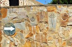 Manier van de symbolen van Heilige James in steen worden gesneden die royalty-vrije stock foto's