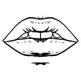 Manier vectorhand getrokken vrouwelijke lippen Royalty-vrije Stock Fotografie