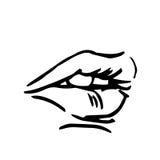 Manier vectorhand getrokken vrouwelijke lippen Royalty-vrije Stock Foto's