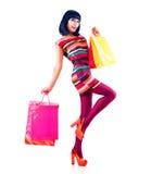 Manier Winkelend Meisje Stock Foto