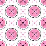 Manierachtergrond met pijlen en roze cirkelsornament Geometrisch drukontwerp Stammenpijl naadloos vectorpatroon die te schilderen Royalty-vrije Stock Afbeeldingen
