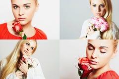 Maniercollage Groep mooie jonge vrouwen Sensuele meisjes met bloemen De mooie blonde vrouw met nam toe meisjes en rozen Stock Foto