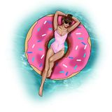 Manierillustratie - Hand getrokken roosterbeeld - Meisje op de vlotter van de doughnutpool vector illustratie