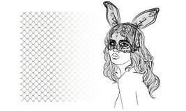 Manierillustratie met damegezicht en konijnmeisje met een masker Royalty-vrije Stock Fotografie