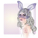 Manierillustratie met damegezicht en konijnmeisje met een masker Royalty-vrije Stock Foto's