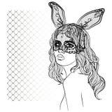 Manierillustratie met damegezicht en konijnmeisje met een masker Royalty-vrije Stock Afbeeldingen