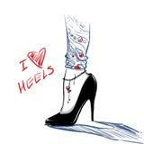 Manierillustratie met vrouwenbenen die hoge hielenschoenen dragen Royalty-vrije Stock Fotografie