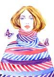 Manierillustratie, mooi meisje in gestreepte warme kleding en vlinders Royalty-vrije Stock Foto's
