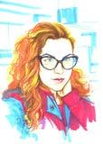 Manierillustratie van meisje in glazen Stock Afbeeldingen