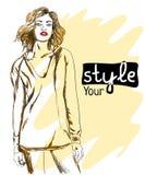 Manierillustratie van stijlmeisje Stock Fotografie