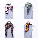 Manierinzameling van de sjaals van dames Verschillende mede combinaties Royalty-vrije Stock Foto